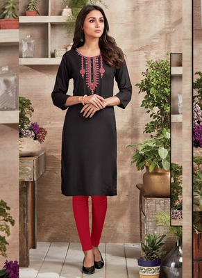 Black Rayon Embroidered Long Kurtis