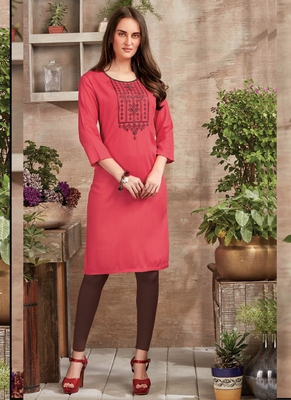 Dark Peach Rayon Embroidered Long Kurtis