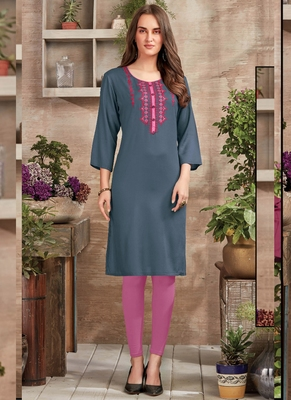 Grey Rayon Embroidered Long Kurtis