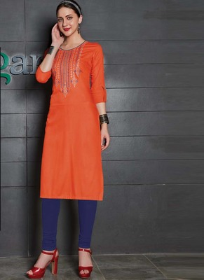 Orange Rayon Embroidered Long Kurtis