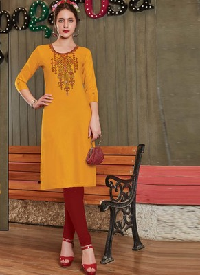 Yellow Rayon Embroidered Long Kurtis