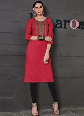 Red Rayon Embroidered Long Kurtis