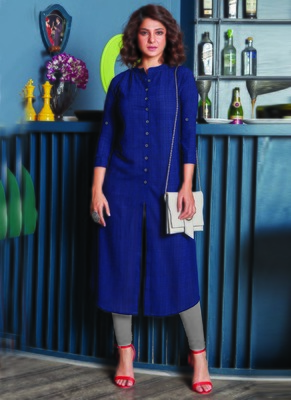 Navy Blue Georgette Plain Long Kurtis