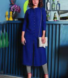 Navy Blue Georgette Plain Long Kurtis