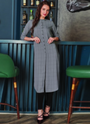 Grey Georgette Plain Long Kurtis