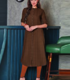 Dark Beige Georgette Plain Long Kurtis