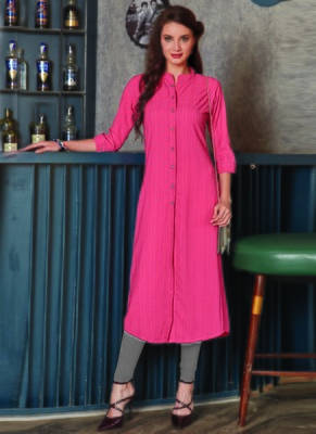 Baby Pink Georgette Plain Long Kurtis