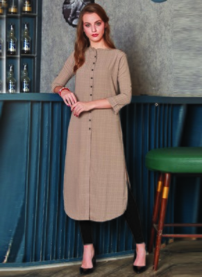 Beige Georgette Plain Long Kurtis