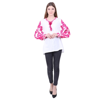 White Embroidered Blended Cotton Long Top