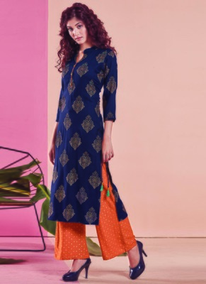 Navy Blue Rayon Printed Kurtas And Kurtis