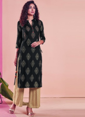 Black Rayon Printed Kurtas And Kurtis