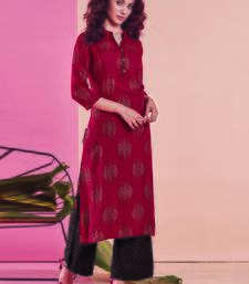 Maroon Rayon Printed Kurtas And Kurtis