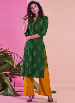Dark Green Rayon Printed Kurtas And Kurtis