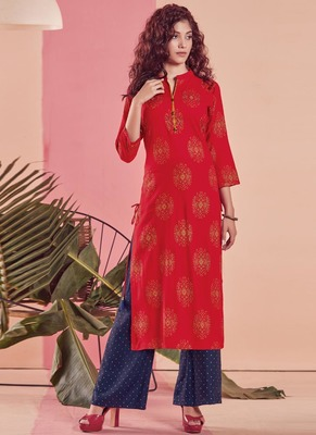Red Rayon Printed Kurtas And Kurtis