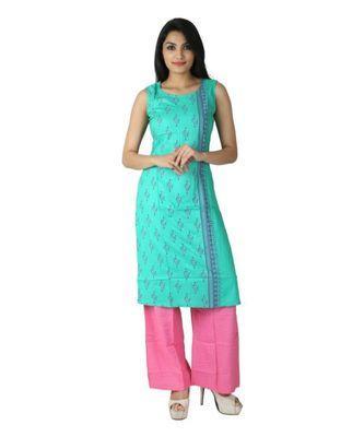 Green printed cotton kurti