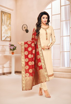 Designer Pure Cotton Jam Silk Semi-Stitched Salwar Suit