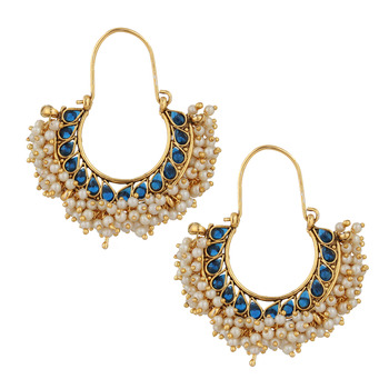 Chandni pearl hoop traditional Indian golden finish earrings saea0879bl