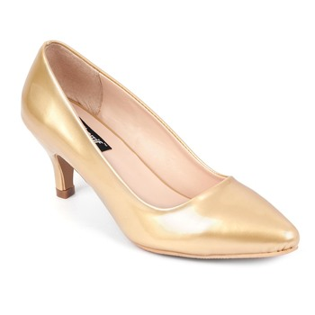 SHERRIF SHOES Women's Golden Kitten Heel Pumps
