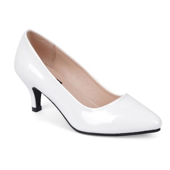 SHERRIF SHOES Women's White Kitten Heel Pumps