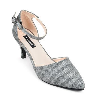 SHERRIF SHOES Women's Gunmetal Kitten Heel Sandals