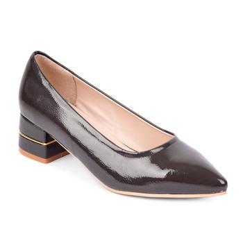 SHERRIF SHOES Women's Grey Block Heel Pumps