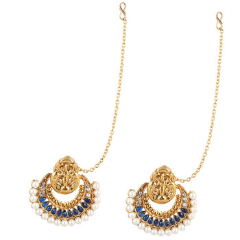 Traditional INDIA ethnic bollywood polki earring with mahalaxmi motif and pearls on a golden base-White