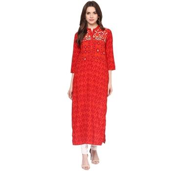 Red printed polyester kurtas-and-kurtis