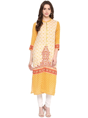 Yellow printed polyester kurtas-and-kurtis