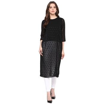 Black printed polyester kurtas-and-kurtis