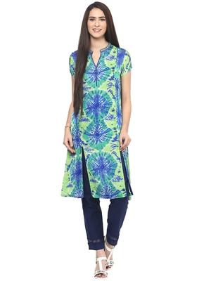 Green printed polyester kurtas-and-kurtis