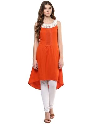 Orange printed polyester kurtas-and-kurtis