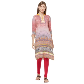 Purple printed viscose kurtas-and-kurtis