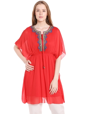 Red printed polyester kurtas-and-kurtis