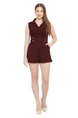 Maroon Color scuba crepe Fabric Jumsuit