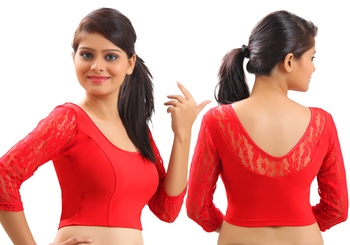 Red Lace crochet stretchable blouse and crop top