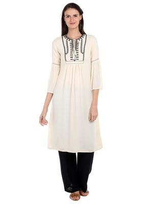 Off white printed viscose kurtas-and-kurtis
