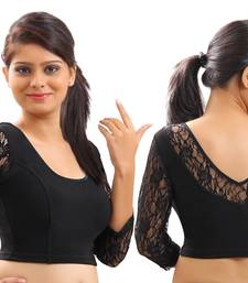 Black Lace(Net Will Vary Slightly) Crochet Stretchable Blouse And Crop Top