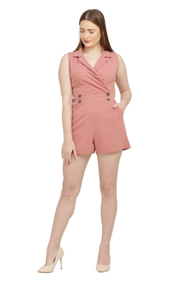 Peach Color scuba crepe Fabric Jumsuit