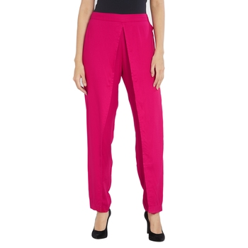 Hot Pink Solid Straight Fit Pants