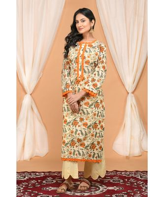 Orange Jaal Kurta with Lace and Scalloped pants