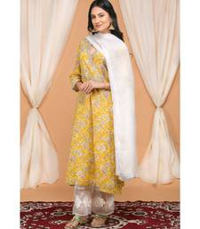 Mustard Yellow Kurta with Organza Applique Flower Pants and Lace Dupatta