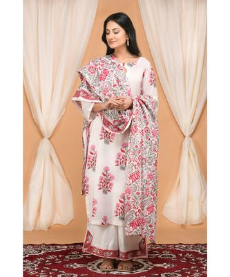 Red and Pink Floral Jaal Dupatta set with SlitPants