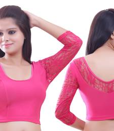 Pink Lace Crochet Stretchable Blouse And Crop Top