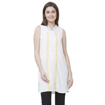 Off white printed polyester kurtas-and-kurtis