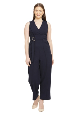 Navy Blue Color scuba crepe Fabric Jumsuit
