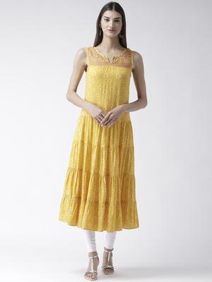 Yellow printed viscose kurtas-and-kurtis