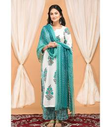 Blue  Gathered Kurta Set with Embroidered Palazzo