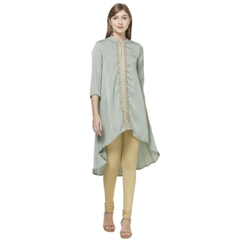 Green printed polyester kurtas-and-kurtis