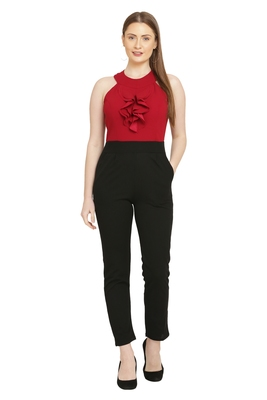Red and Black Color scuba crepe Fabric Jumsuit