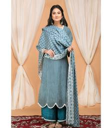 Blue  Gathered Kurta Set with Embroidered Palazzo and Embroidered Dupatta